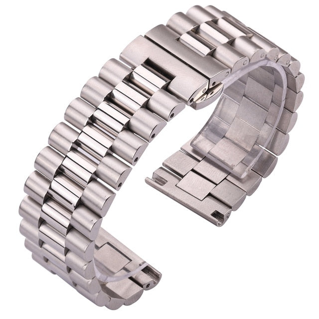 Stainless Steel Watchbands Bracelet Women Men Silver Solid Metal Watch Strap 16mm 18mm 20mm 21mm 22mm Accessories