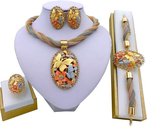 Necklace Earrings Sets for Women Wedding Bridal Bracelet Ring Pendant Jewelry Set
