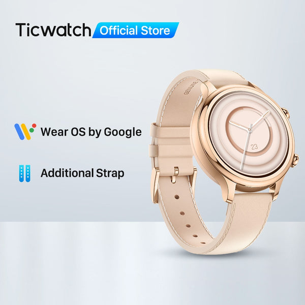 TicWatch C2 Plus Wear OS Smartwatch 1GB RAM Built-in GPS Fitness Tracking IP68 Waterproof Watch NFC Google Pay Women's Watch