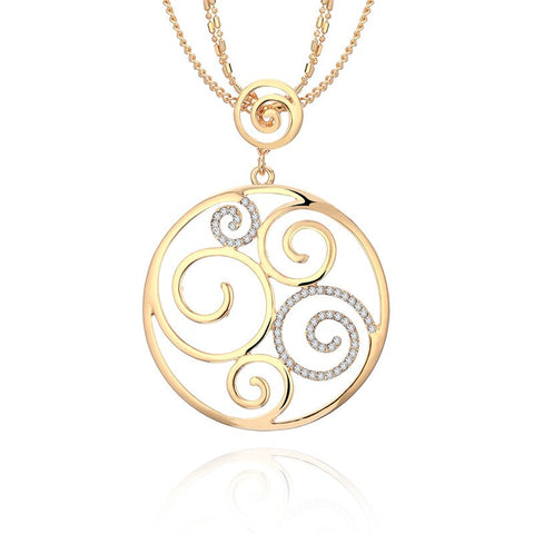 Round Geometric Crystal Pendant Necklace Gold For Women