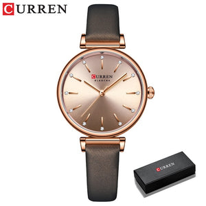 Women's Watches CURREN New TOP Brand Luxury Quartz Wristwatch with Leather Shiny Rhinestones dial Green