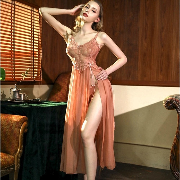 Long Night Dress Ladies Elegant Gowns Lace Nightwear See Through Lingerie Sexy Hot Erotic Nightgown Womens v-neck Sleepwear