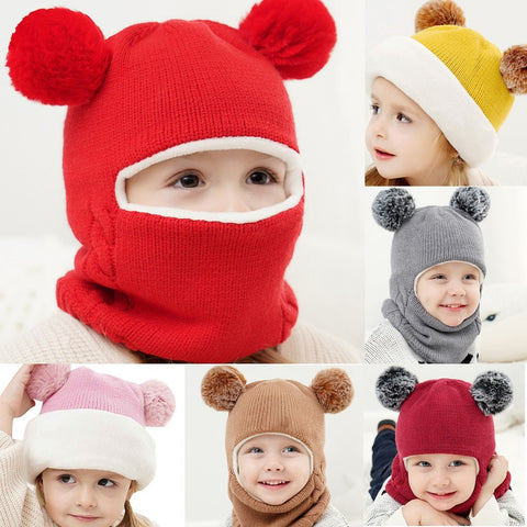Baby's Cap Unisex Kid Baby Boy Girl Hooded Scarf Caps Hat Winter Warm Knit  Flap Cap Scarf Knitted Cartoon