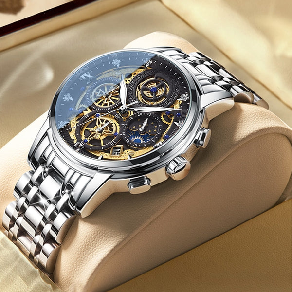 Men's Watch Stainless Steel Top Brand Luxury Waterproof  Sports Chronograph Quartz