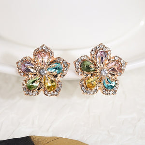 Romantic Bridal Wedding Flower Stud Earrings 2 Colors Available Delicate Party Accessories Fine Jewelry