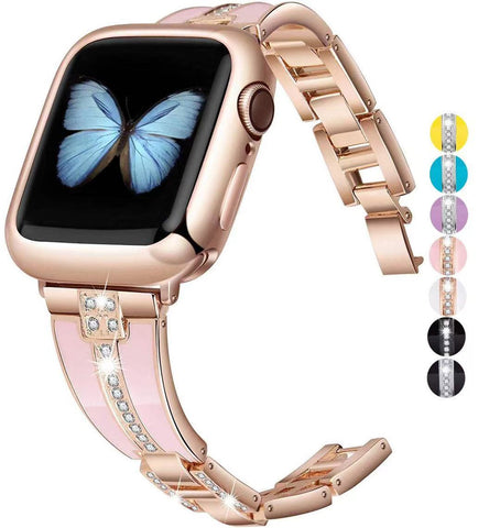 Resin with Metal strap for Apple watch 6 5 4 SE 44mm 40mm woman replacement bracelet for iwatch 3 2 38mm 42mm Luxury metal strap