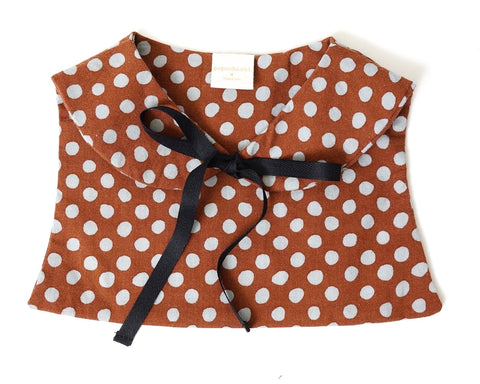 Cutie Fake Collar in Brown and Grey Dots