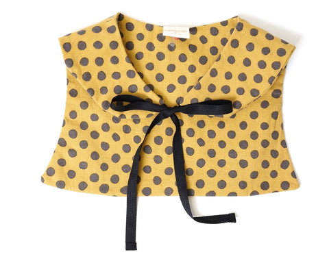 Cutie Fake Collar in Yellow and Grey Dots