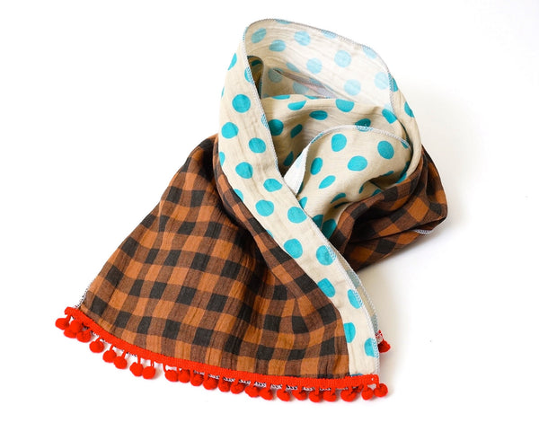 BROWN CHECKS AND DOTS SCARF