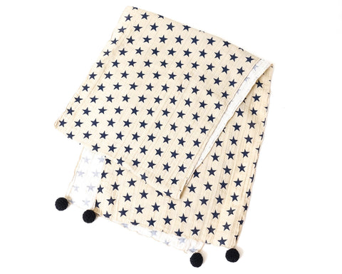 Beige Scarf with Stars Pattern
