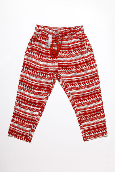 Red Ethnic Stripes Pants