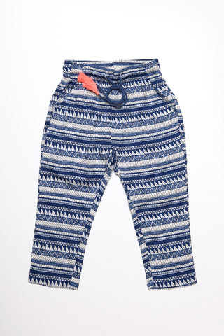 Blue Ethnic Stripes Pants