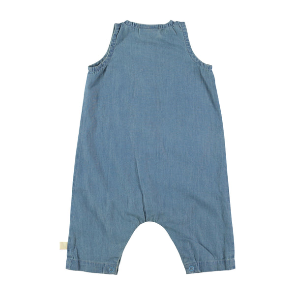 washed jean logo onepiece