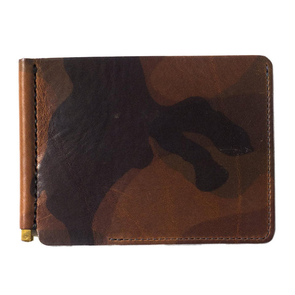 Camouflage Leather Money Clip (Green)