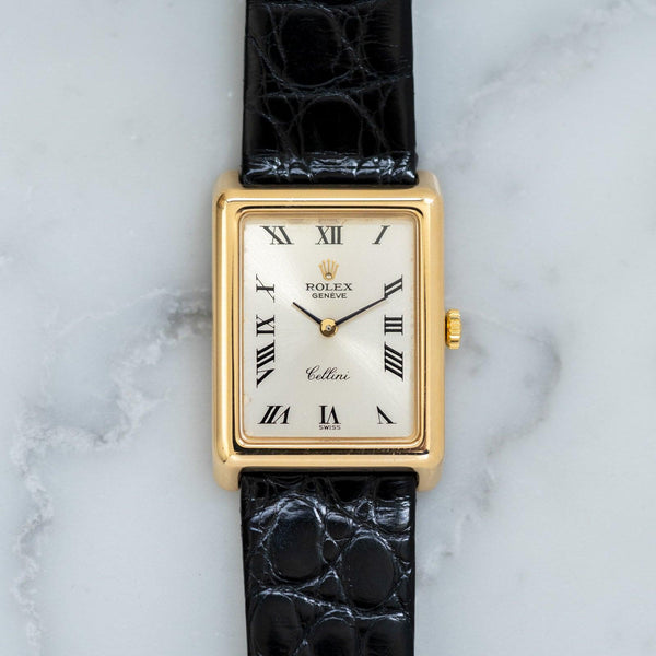 ROLEX Cellini 4103 Rectangle YG Silver Roman
