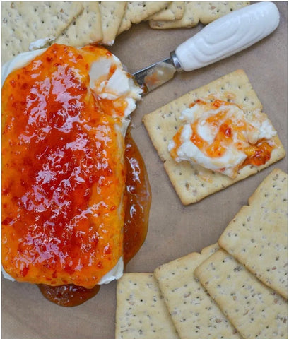 Rocque The House Pepper Jelly over Cream Cheese   Easy Appetizers