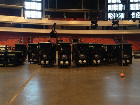 The LED Matrix lift carts waiting to be built into the stage in Moscow.