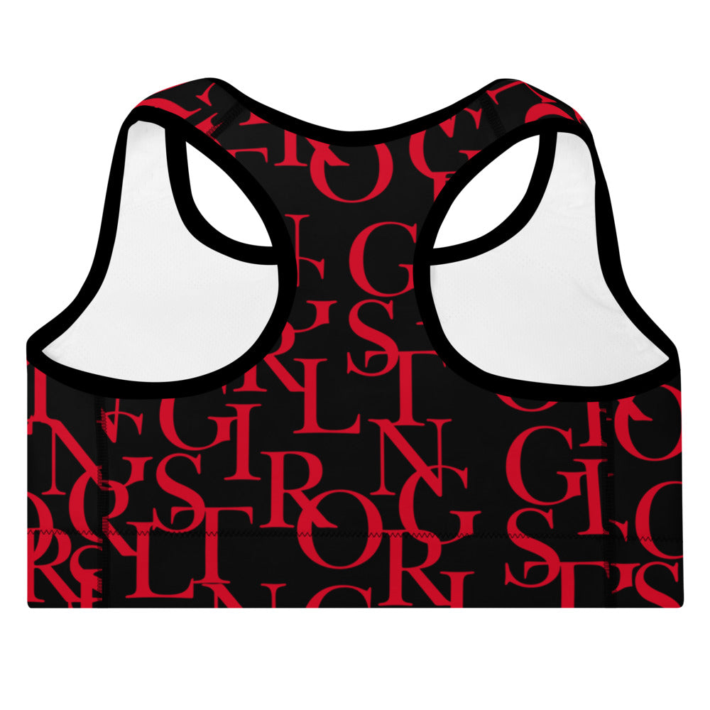 ELEVATED ESSENTIALS, THE PERFECT PADDED SPORTS BRA BLACK & RED GIRLSTRONG