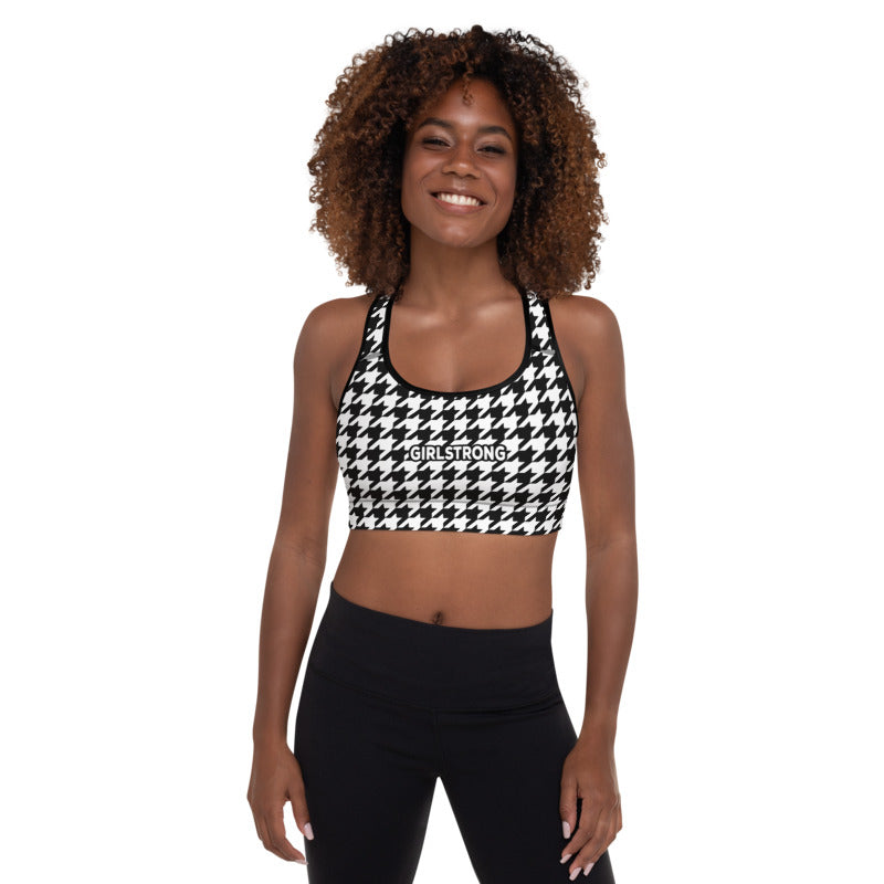 ELEVATED ESSENTIALS,THE PERFECT PADDED SPORTS BRA BLACK WHITE HOUNDSTOOTH