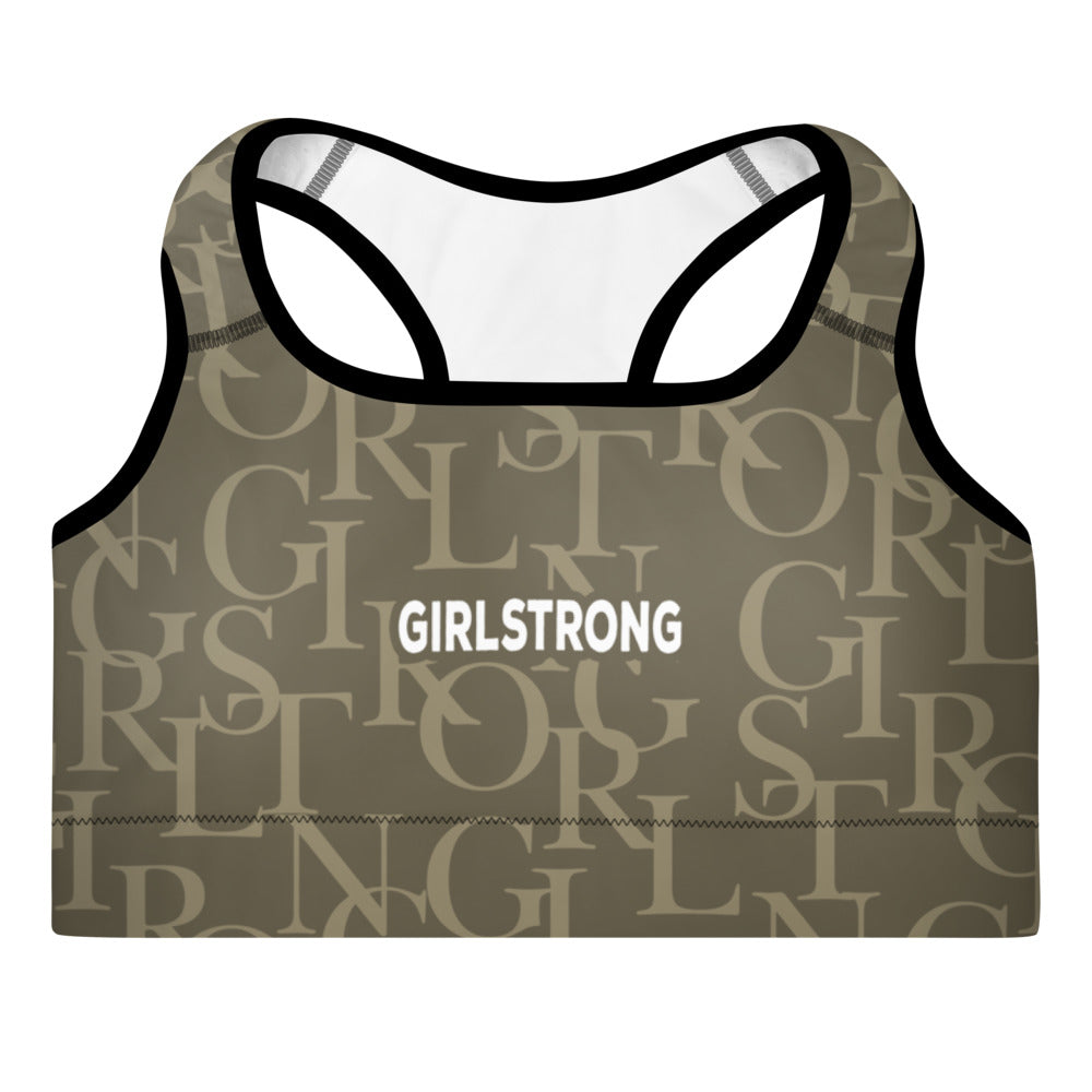 ELEVATED ESSENTIALS, THE PERFECT PADDED SPORTS BRA ARMY GREEN GIRLSTRONG