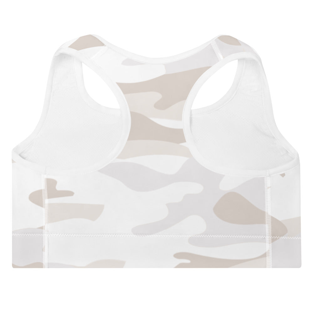 ELEVATED ESSENTIALS, THE PERFECT PADDED SPORTS BRA WHITE CAMO