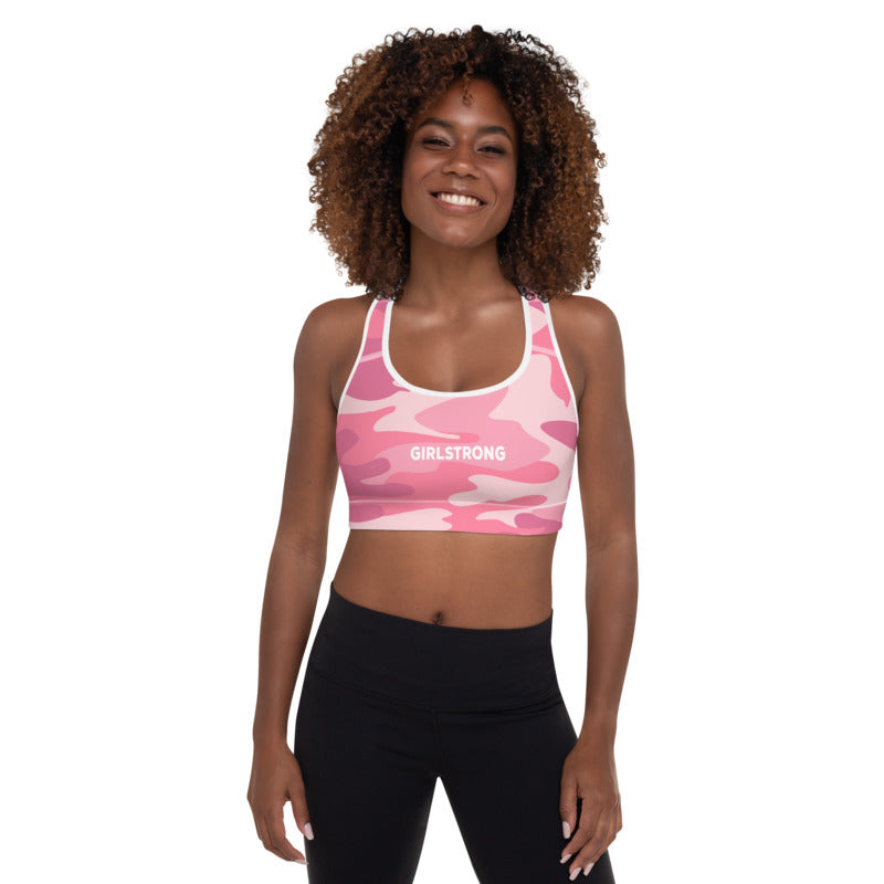 ELEVATED ESSENTIALS, THE PERFECT PADDED SPORTS BRA PINK CAMO