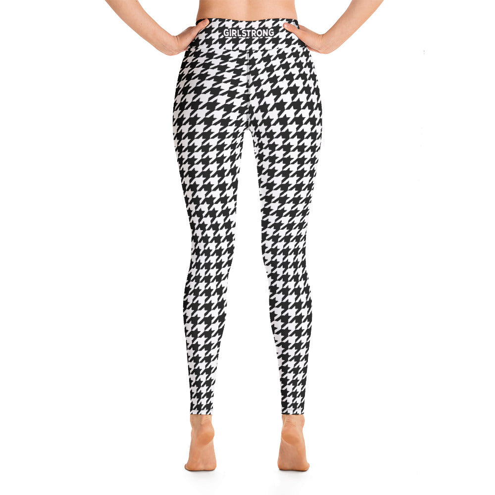 ELEVATED ESSENTIALS, THE PERFECT HIGH WAISTBAND LEGGING BLACK WHITE HOUNDSTOOTH