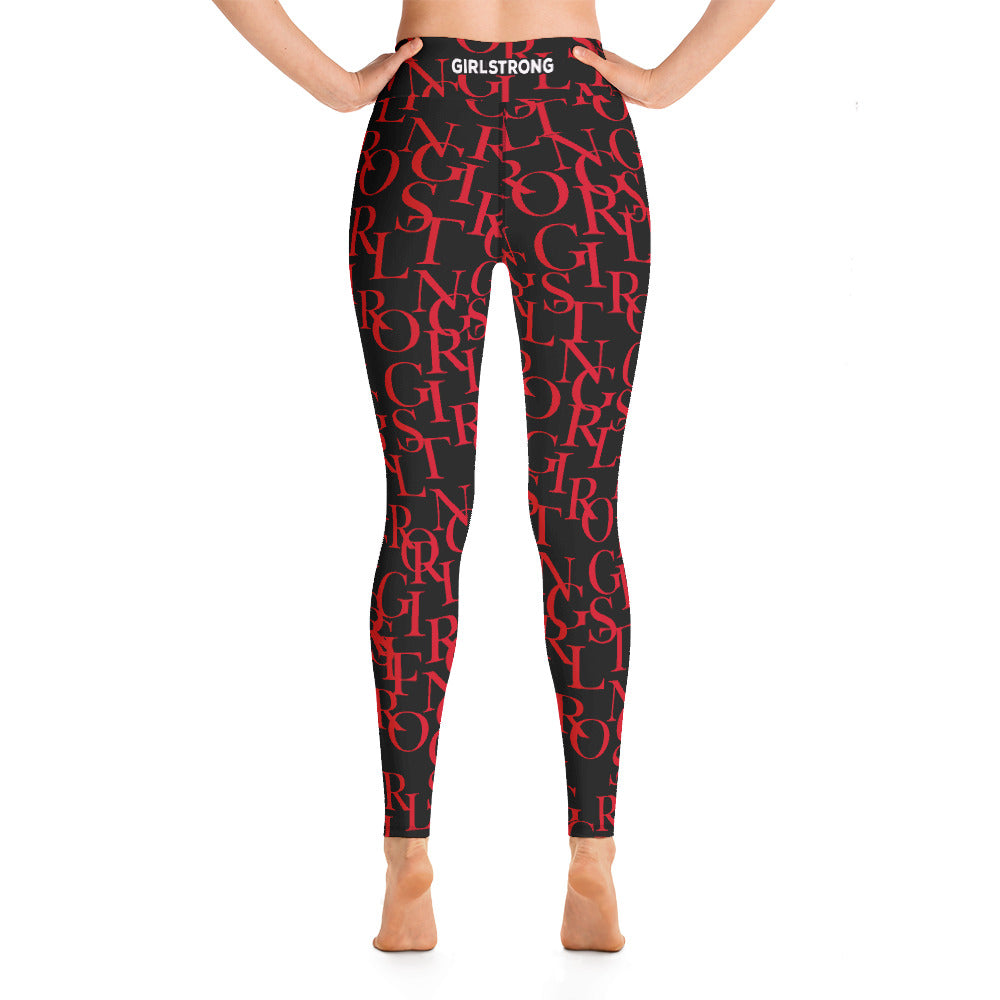 ELEVATED ESSENTIALS, THE PERFECT HIGH WAISTBAND LEGGING BLACK & RED GIRLSTRONG