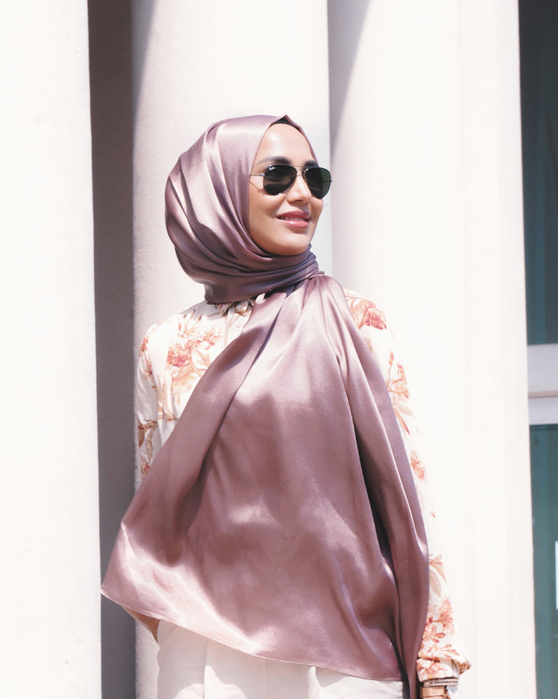 Silver - Satin Large Hijab