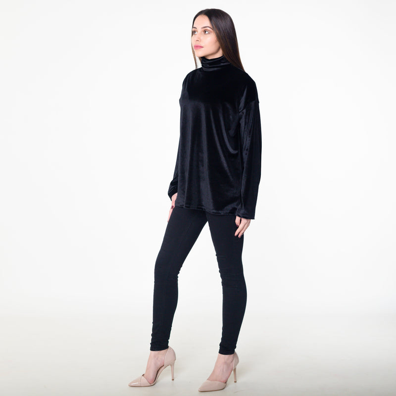 Black Velvet Polo Neck Top