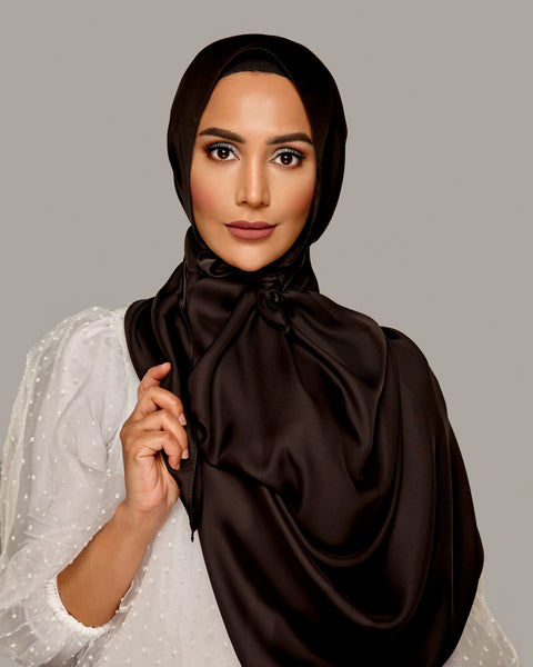 Black - Satin Large Hijab