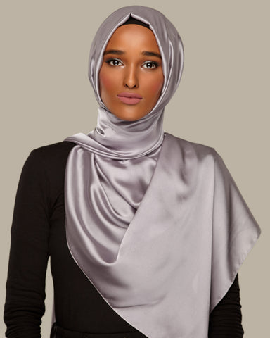 Charcoal Grey - Silken Large Hijab