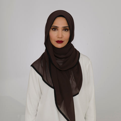 Dark Chocolate Chiffon Bordered Hijab