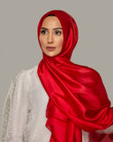 Cranberry Red - Silken Large Hijab