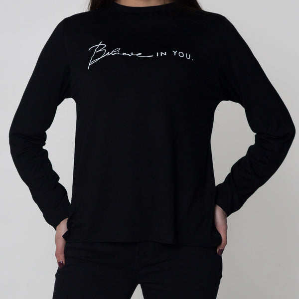 Long Sleeve Black Slogan T Shirt