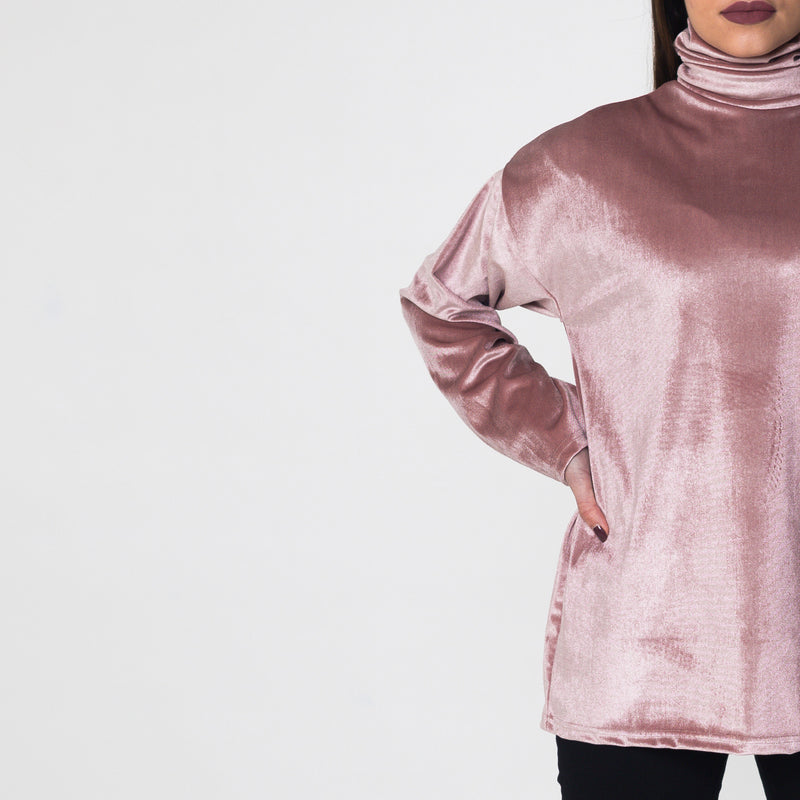 Rose Velvet Polo Neck Top