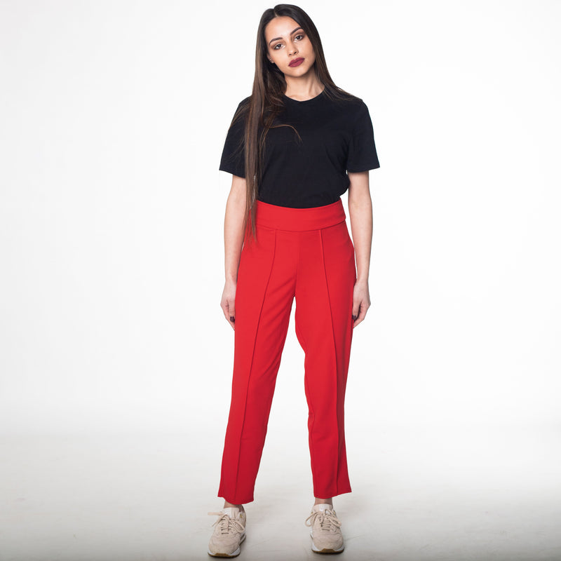 Red Peg Leg Trousers