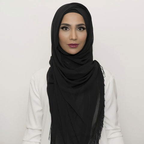 Black Chiffon Black Fringe Large Hijab