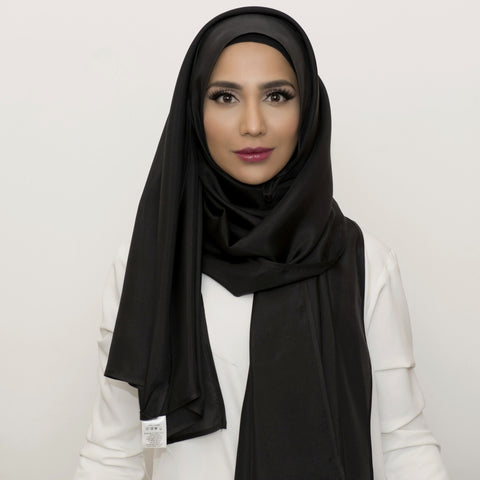Black Silk Large Hijab