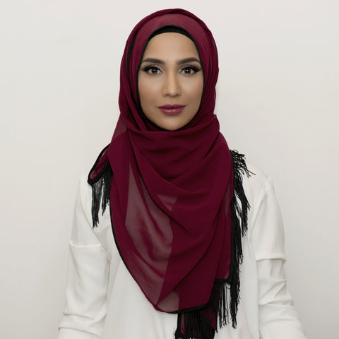 Currant Chiffon Black Fringe Large Hijab