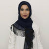 Blueberry Chiffon Black Fringe Large Hijab