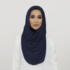 Navy Smooth Crushed Maxi Hoojab