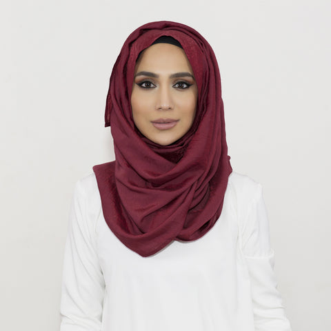 Shimmer Burgundy Crushed  Hijab