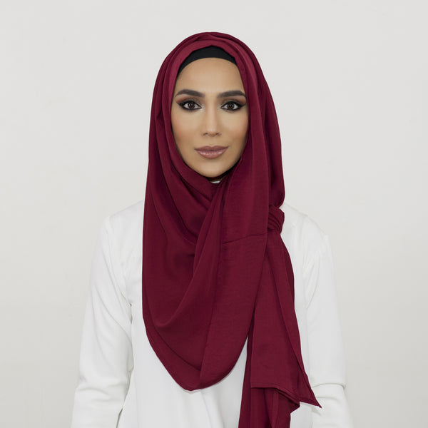 Burgundy Smooth Crushed Maxi Hoojab