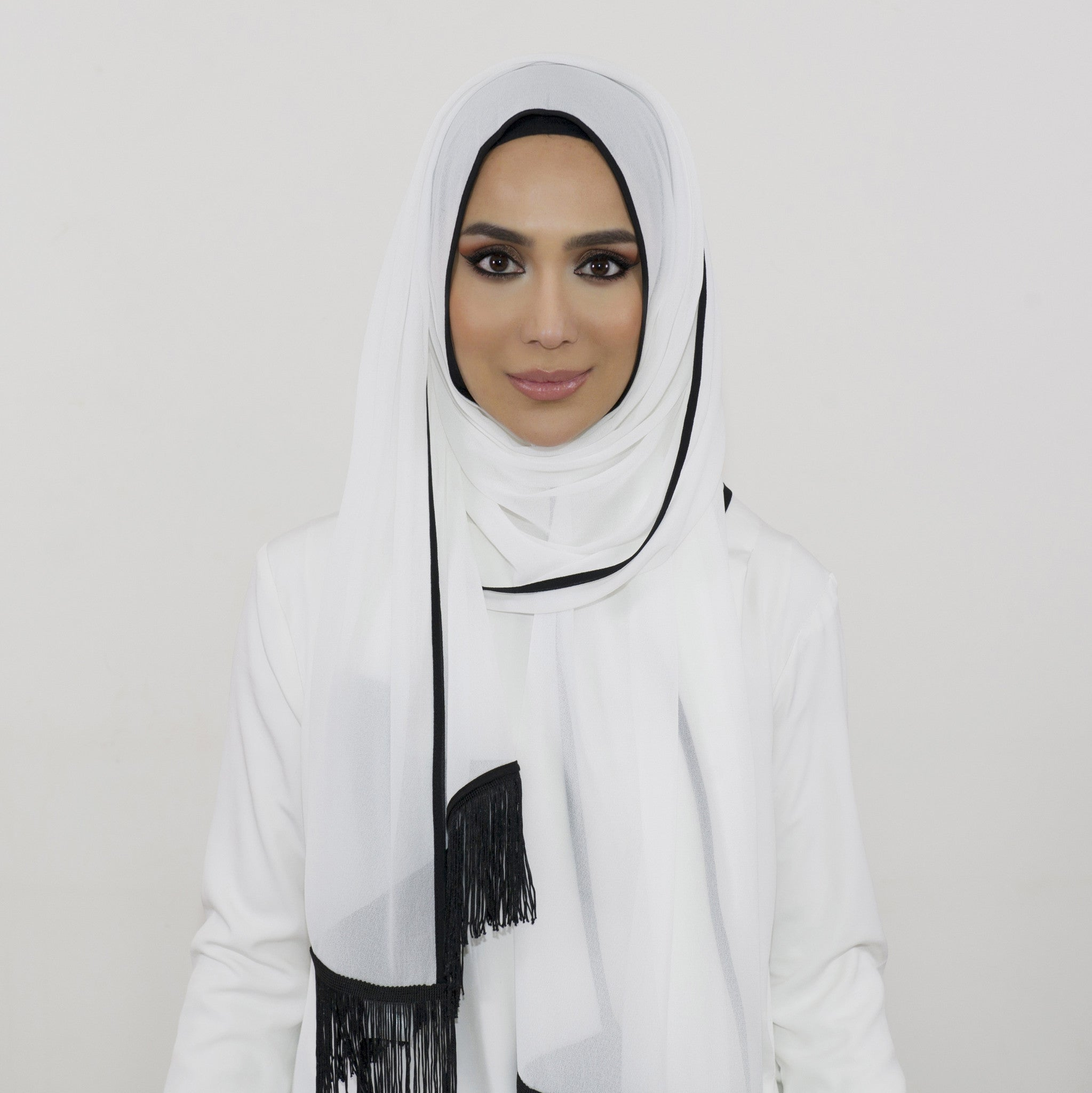 White Chiffon Black Fringe Large Hijab