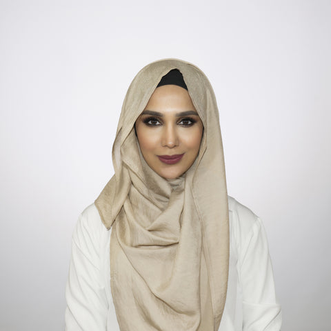 Shimmer Golden Beige Crushed Hijab