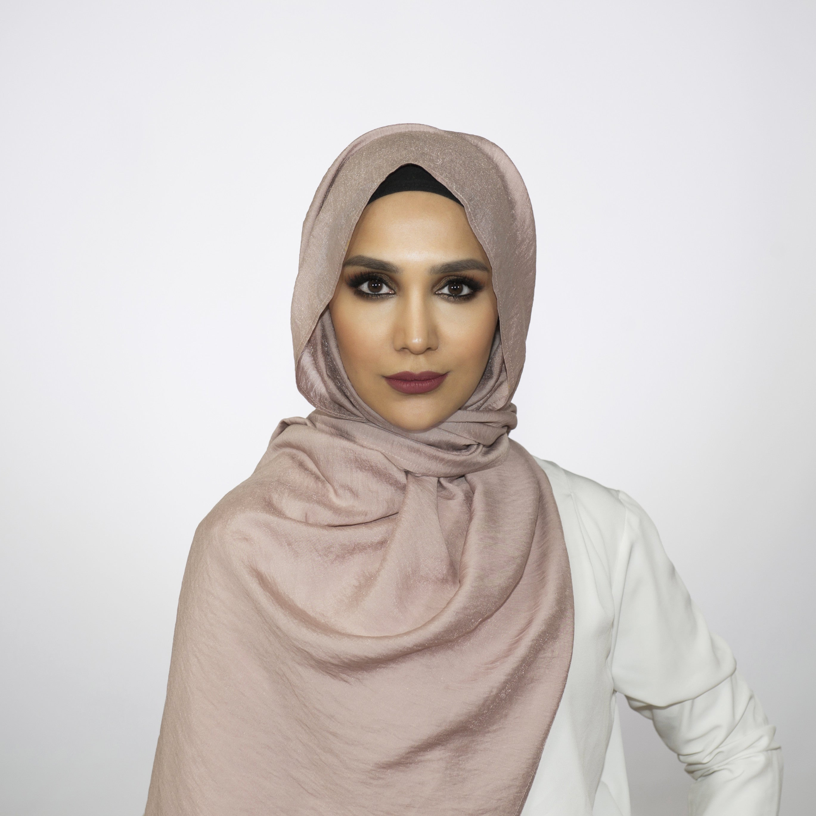 Shimmer Soft Mauve Crushed Hijab