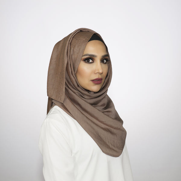 Shimmer Taupe Crushed Hijab