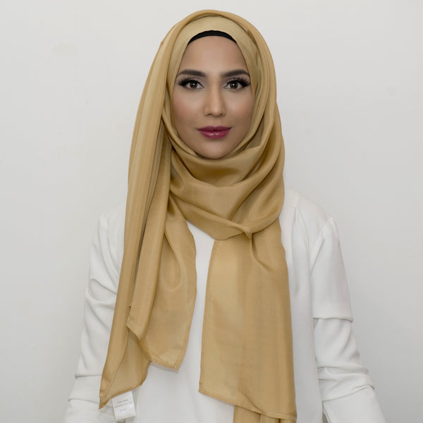 Gold Silk Large Hijab