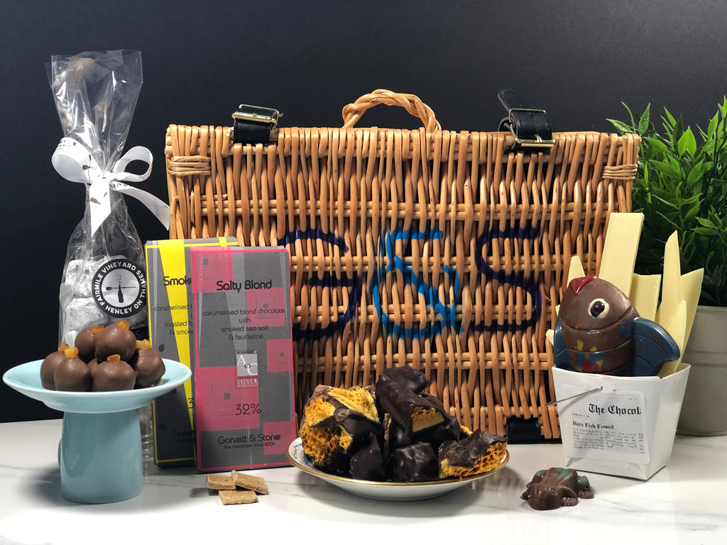 chocolate hamper, blond bars, mr hobbs gin and orange truffles, fairmile fizz truffles, cinder toffee, exploding frog